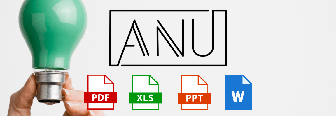 ANU.Community logo with file type icons