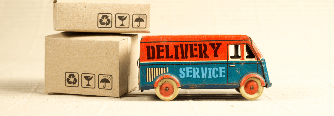 Parcels and toy delivery truck
