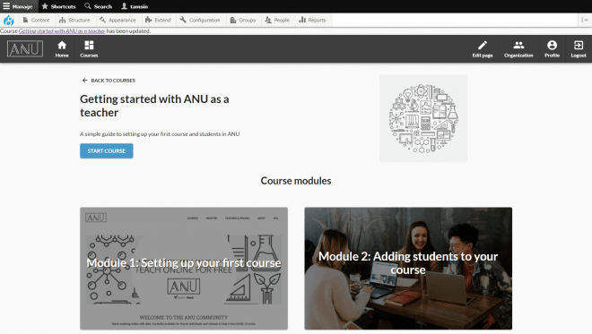 Screen shot of ANU.Community course showing two modules