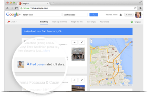 Google Maps ratings example