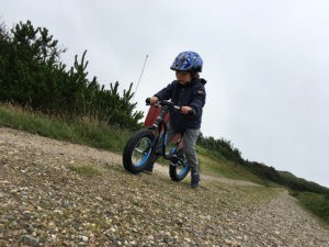 Morten's son adapting to riding a bike
