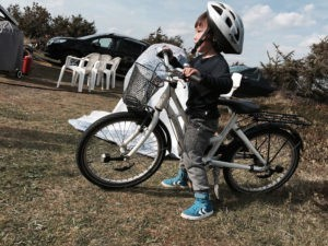 Morten's son on a bike without stabilisers