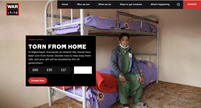 War Child website showing child sitting on bunk bed with donation request overlay