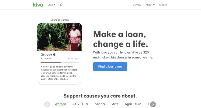 Kiva homepage screenshot showing micro-loan opportunity and a call to action to invest