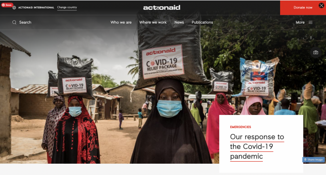 Homepage with full size image of women wearing masks and carrying Covid relief parcels on their heads