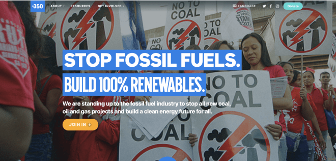 350 website screenshot showing full size image of fossil fuels protest with central headline and call to action button