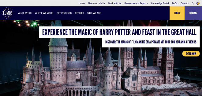 Lumos homepage showing full screen image of Hogwarts castle promoting their latest fundraiser