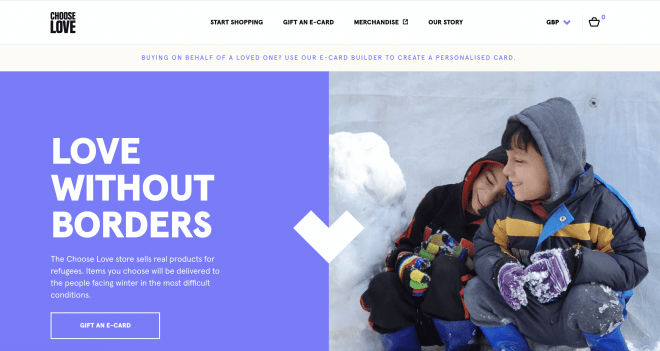 Choose Love homepage with photograph of refugees and 'love without borders' message and call to action