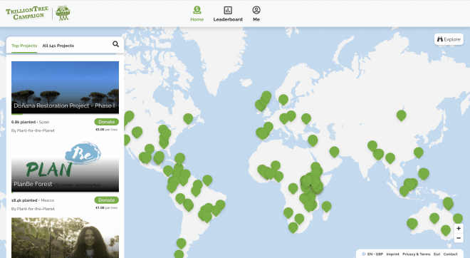 TrillionTreeCampaign.org homepage screenshot showing global map with green dots for all of their listed tree-planting projects