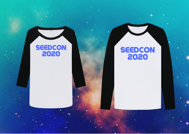 SeedCon 2020 his and hers t-shirts on galaxy background