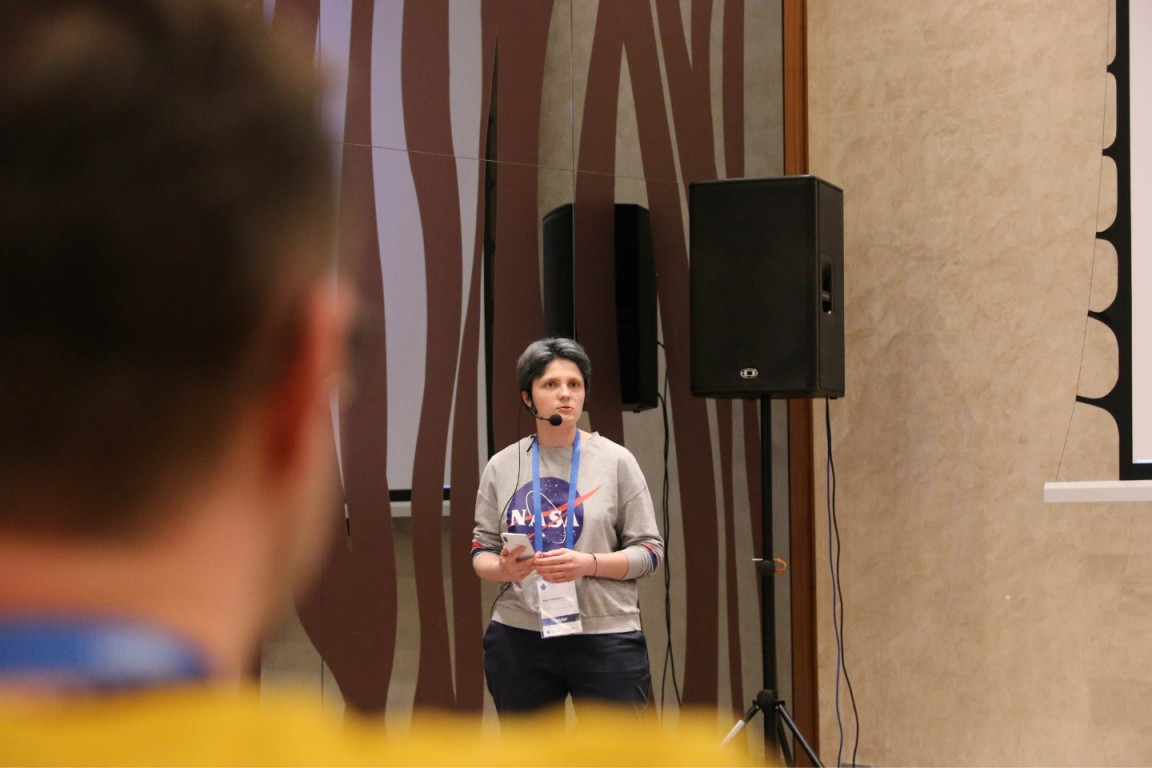 Kate from SystemSeed speaking at DrupalCon 2019