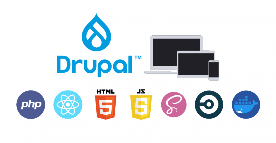 Drupal 9 logo with logos of related technologies