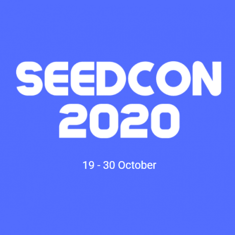 SeedCon 2020 logo in white on blue background